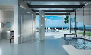 Ambiente bagno con cabina doccia 3d.
